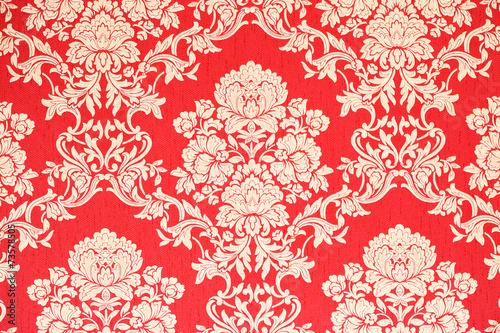 rote barock Tapete mit goldenen Rosenmuster – kaufen Sie dieses Foto ...