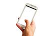 canvas print picture - Hand mit weißem Smartphone - Hand with white smartphone