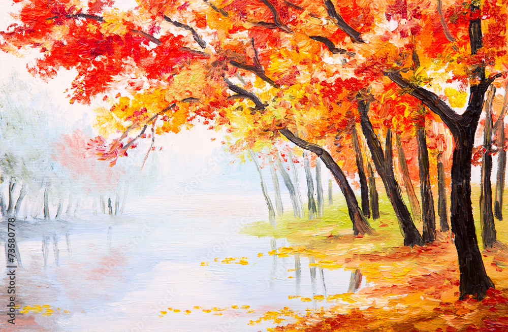 Oil painting landscape - autumn forest near the lake,