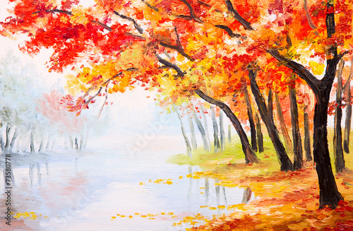 Fototapety, obrazy: Oil painting landscape - autumn forest near the lake,