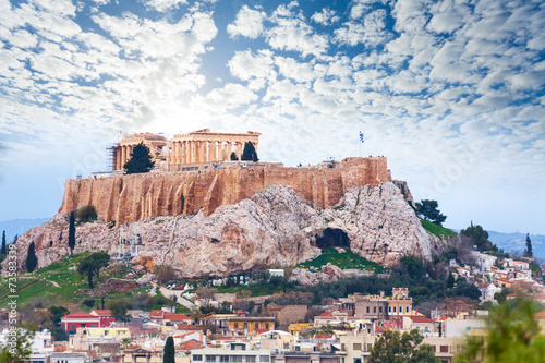 Poster Athens Parthenon temple and Acropolis view from downtown