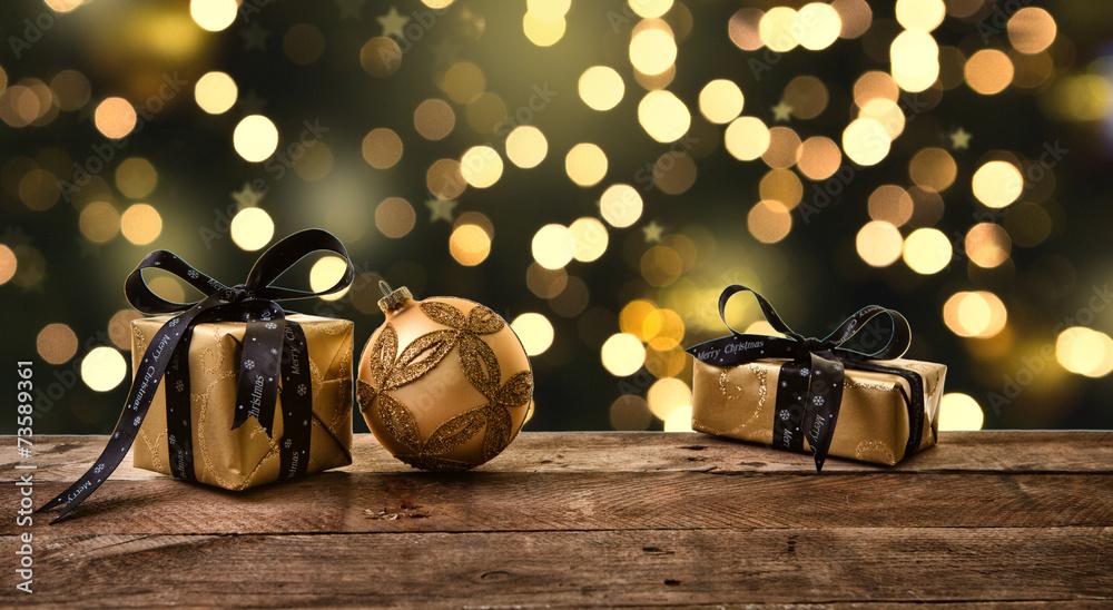 Fototapety, obrazy: golden night christmas