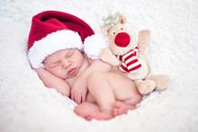 Adorable Baby Boy, Sleeping With Santa Hat