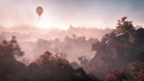 Aerial of balloon flying over mountain landscape with autumn for - 73608942