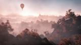 Antena balon latający nad górski krajobraz z jesienią dla - 73608942