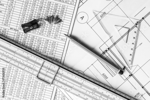 Architectural Drawings Tools For Sketching On The Table