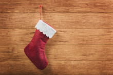 Christmas Sock  On Wooden Background