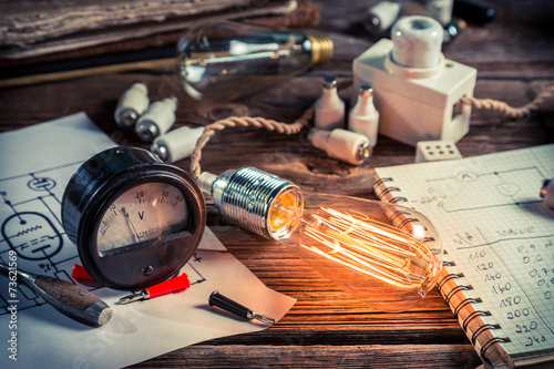 Examination of current and light bulbs in physics laboratory Fototapeta