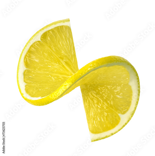 Fotografía  Lemon twist slice isolated on white background