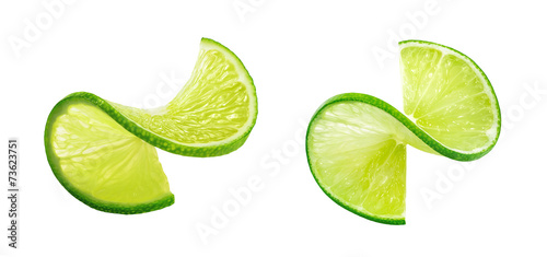 LIme slice twist isolated on white background Canvas-taulu