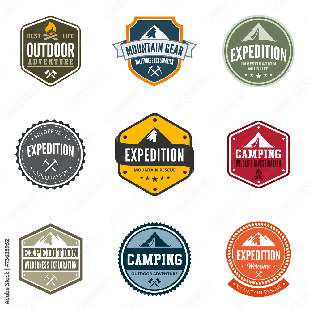 Fototapeta Adventure Tourism Travel Logo Vintage Labels design