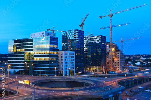 Photo  Oslo construction site by night