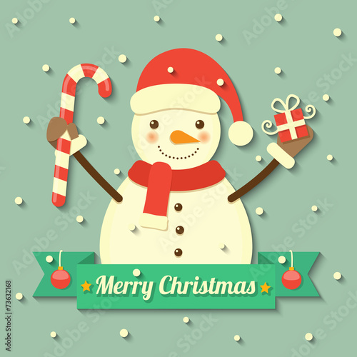 Photographie Christmas snowman background