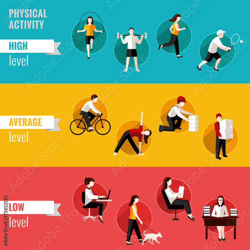 Physical activity horizontal banners Wall mural