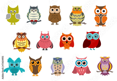 Deurstickers Uilen cartoon Cartoon cute owl birds