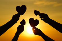 Hands Holding Hearts Silhouette