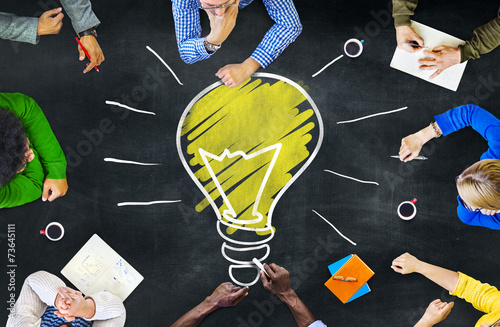 Fotografie, Tablou  Ideas Thoughts Knowledge Intelligence Learning Meeting Concept