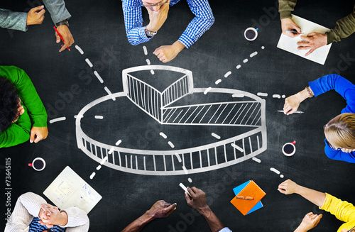 Obraz Pie Graph Business Financial Issues Finance Meeting Concept - fototapety do salonu