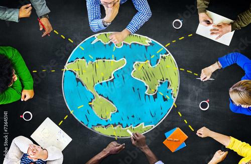 Fototapeta World Global Ecology International Meeting Learning Concept obraz