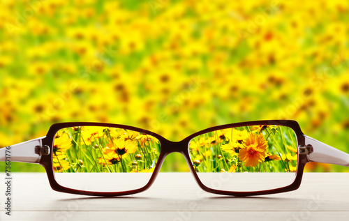 Poster Jaune Vision concept. Eye glasses on wooden table outdoors