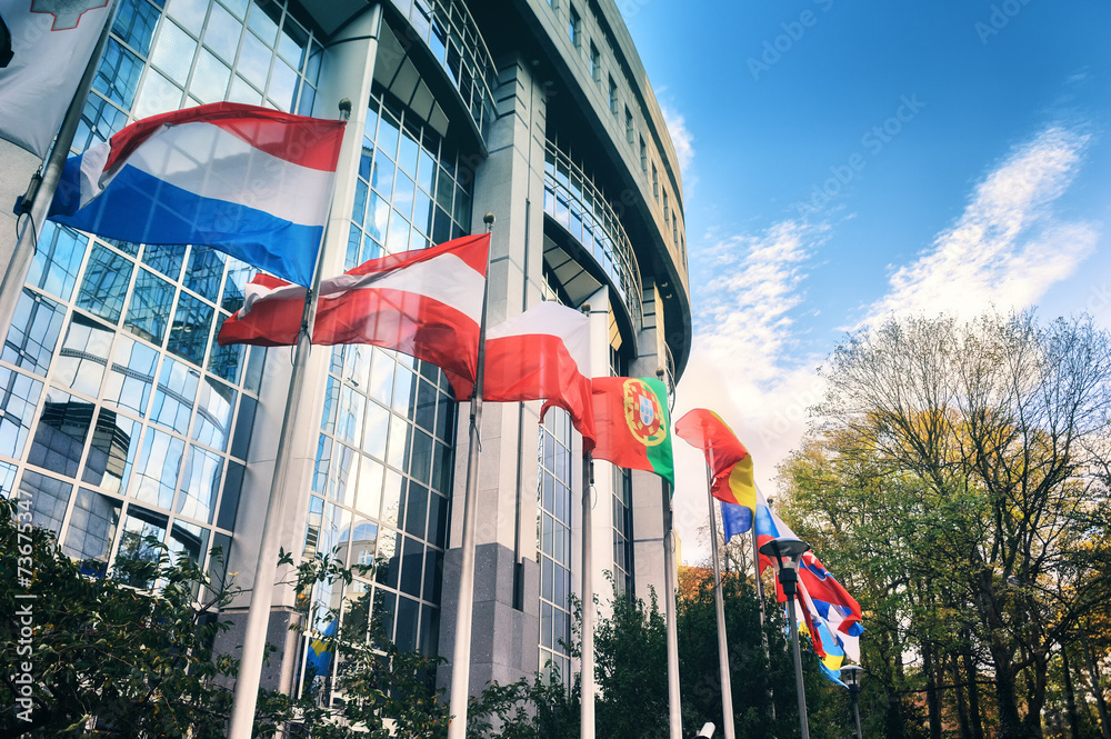 Fototapety, obrazy: Waiving flags in front of European Parliament building. Brussels
