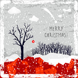 Merry christmas greeting card, winter landscape, scenery