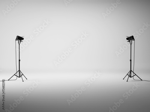 Obraz White studio with lights - fototapety do salonu