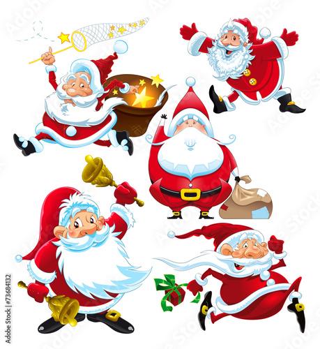 Poster Chambre d enfant Set of funny Santa Claus