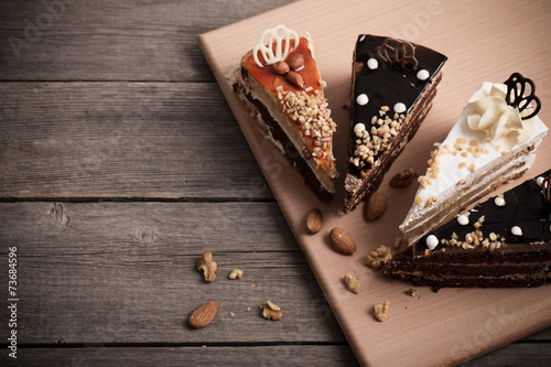 cake on old wooden background Fotobehang