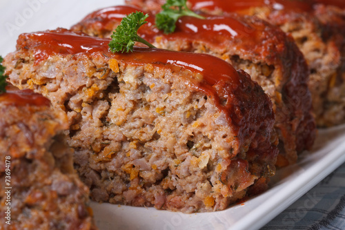 Delicious meat loaf with ketchup macro, horizontal Canvas Print