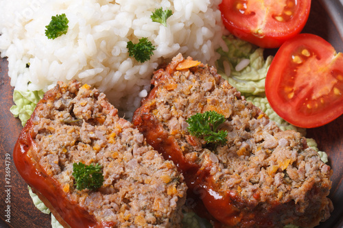 meat loaf with rice and vegetables macro horizontal top view Wallpaper Mural