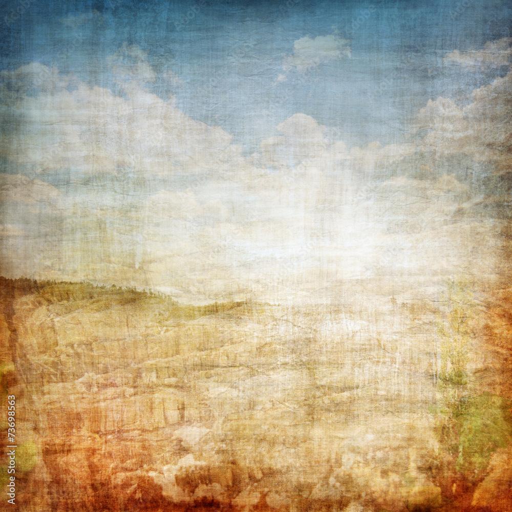 Vintage Landscape Fabric Background