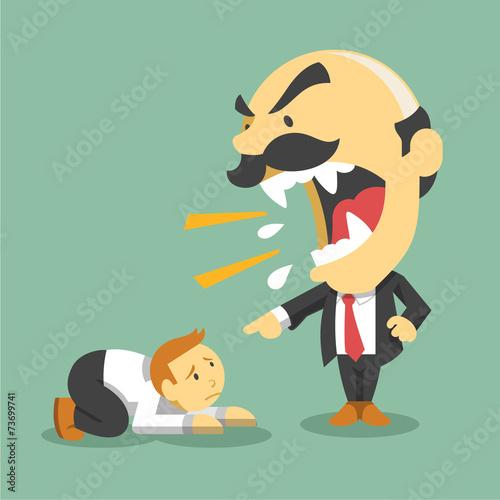Boss screams on worker. Vector flat illustration Canvas Print