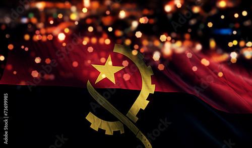 Photo Angola National Flag Light Night Bokeh Abstract Background