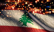 canvas print picture Lebanon National Flag Light Night Bokeh Abstract Background