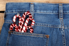 Candy Canes In Blue Jean Pocket