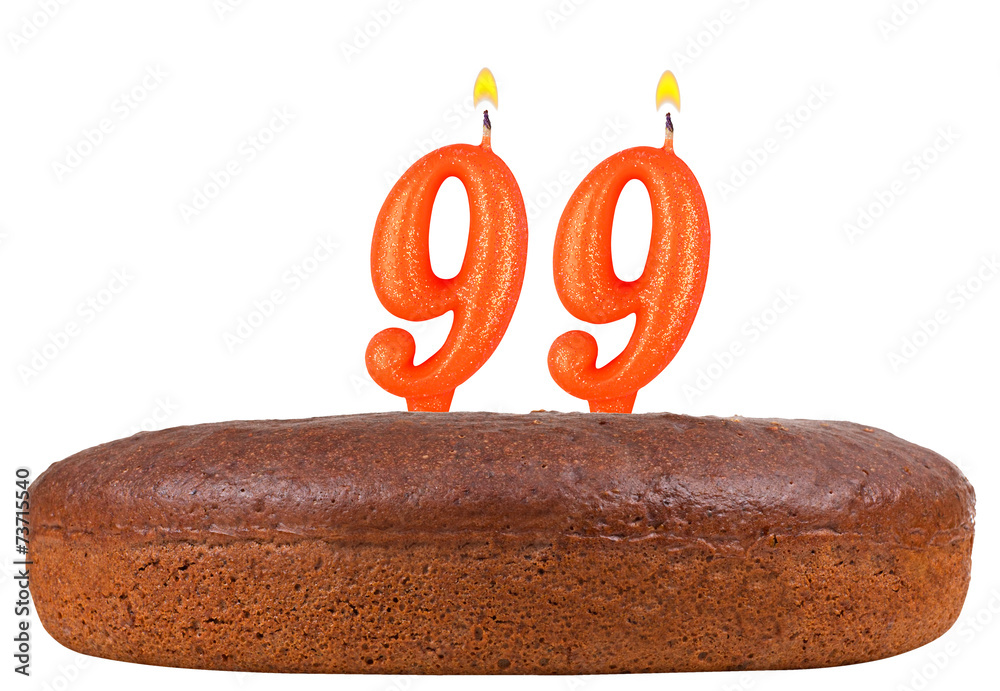 Photo Art Print Birthday Cake Candles Number 99 Isolated