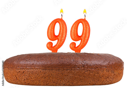 Photographie  birthday cake candles number 99 isolated