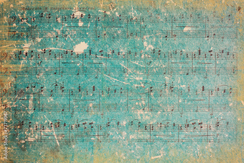 Fotobehang Retro Vintage Background. Vintage Paper. Music Sheet.
