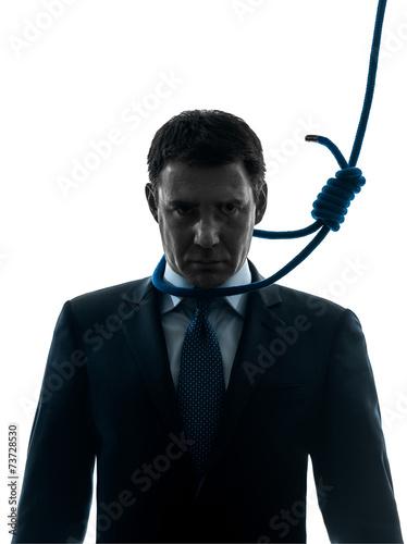 Fotografie, Obraz  business man with hangman noose around the neck silhouette