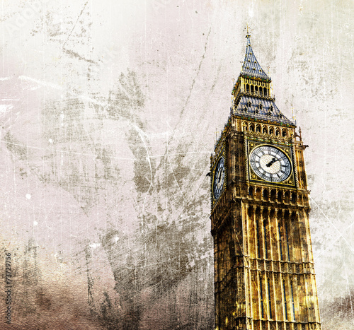 Foto op Canvas Londen London - Big Ben - Altes Retro Foto