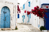 Blue doors, window and white wall of building in Sidi Bou Said - 73730530