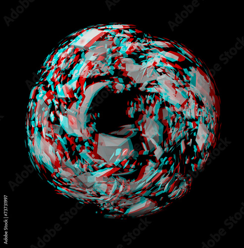 Solid 3D fractal. View anaglyph with red/cyan glasses. Canvas Print