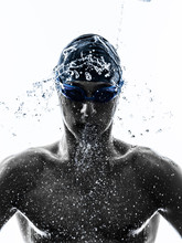 Young Man Swimmer Swimming  Si...