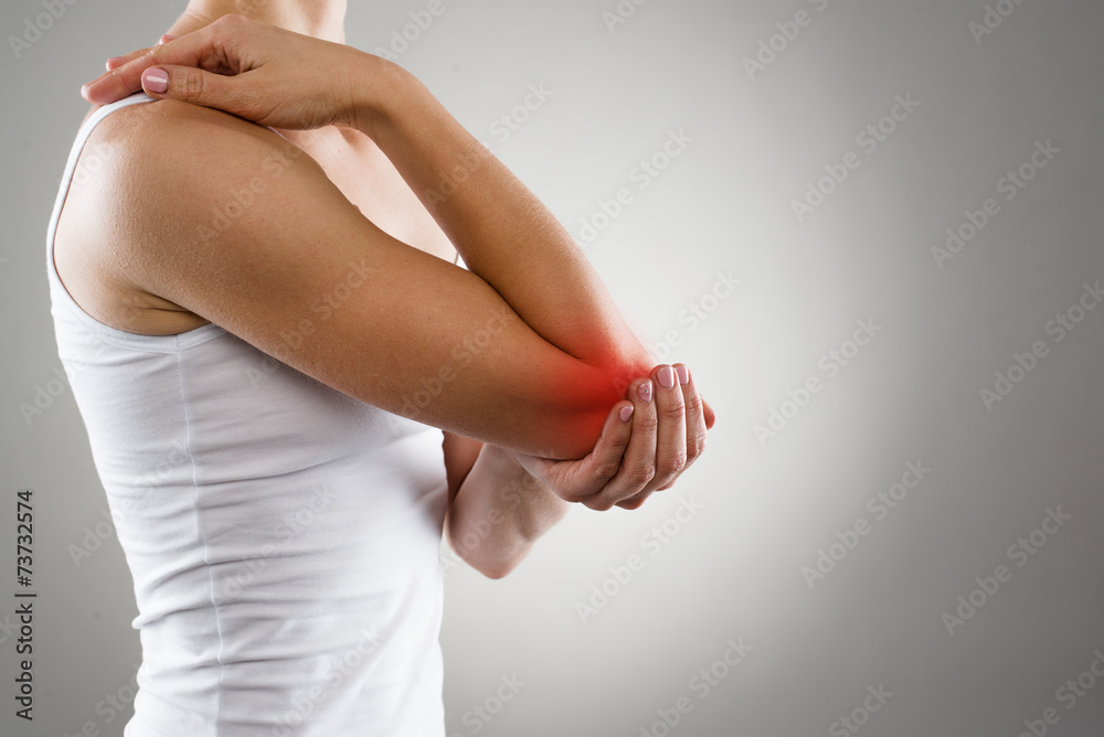 Fototapety, obrazy: Woman suffering from chronic joint rheumatism