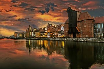 Fototapeta Gdańsk The riverside with the characteristic Crane of Gdansk, Poland.