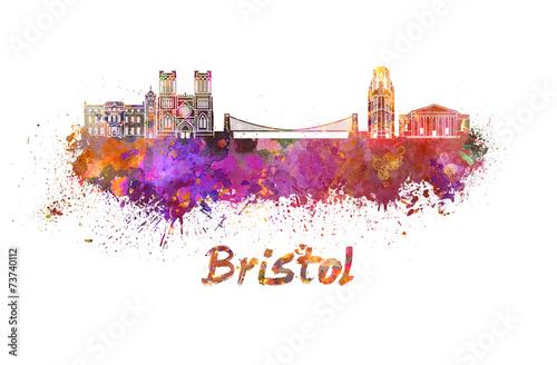 Stampa su Tela  Bristol skyline in watercolor