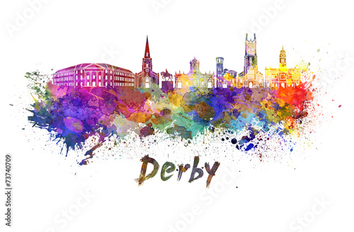 Derby skyline in watercolor Fototapet