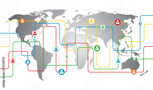 World Map Business Connections
