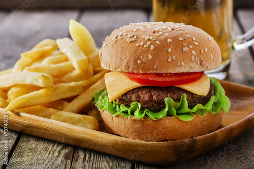Fototapety, obrazy: mini burger with French fries
